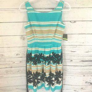 NEW Taylor tan & blue striped floral dress